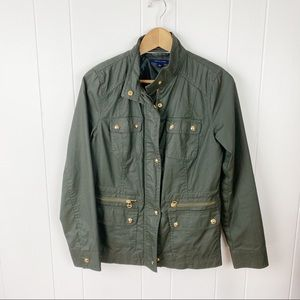 Tommy Hilfiger•Green waxed cotton utility jacket